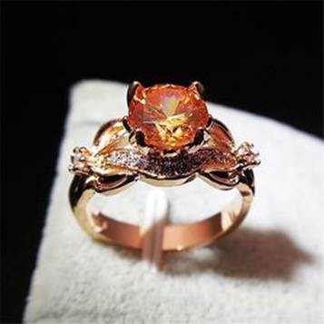 Zircon flower Rose gold fashion ring for women