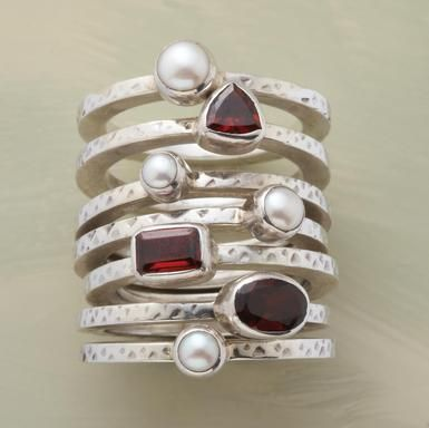 stacked pearl and garnet fashion ring in sterling silver