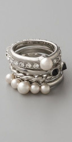 stacked pearl fashion ring