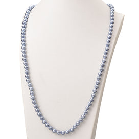 Blue pearl necklace - Blue Color Long Pearls Necklace For 8mm Round Pearls Shell Artificial Chain Necklace