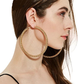 Hoop earrings for women - Big Hoop Stainless Steel Mesh Earrings Exaggerate Gold American & European Earrings For Women