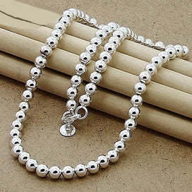 Sterling silver beaded necklace - 6mm Round Bead Necklace 925 Silver Chain Necklace For Women Fine Jewelry