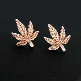 Stud earrings for women - 1 Pair Antique Silver/Gold Color Tone Maple Leaf/Pot Weed Leaf Charms Pendants Stud Earring Jewelry