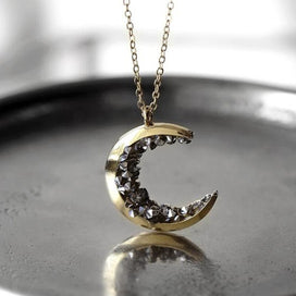Black crystal necklace - Black Ore Stone Planet Half Crescent Moon Pendant Necklace Crystal Sailor Charm Chain Gold Tone For
