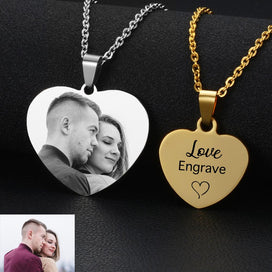 Engraved locket necklace - Custom Photo & Name Laser Engraved Anniversary Necklaces Personalized Stainless Steel Heart