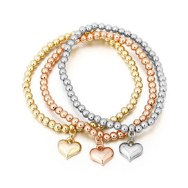 Bohemian Jewelry 3 Pcs/Set Heart Charm Bracelets & Bangles Rose Gold Silver Color Handmade Strand Beads Bracelet For Women Gift