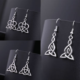 Celtic knot earrings - Irish Celtics Knot Earrings Women Simple Fashion Jewelry Silver Color Magic Wicca Viking Dangle For
