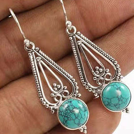 Turquoise drop earrings - Bohemian Long Drop Blue Stone Resin Earrings For Women Retro Ancient Silver Color Hollow Turquoises