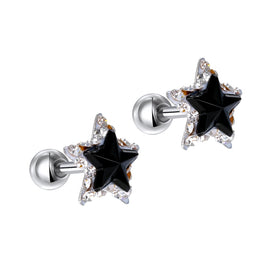Stainless steel stud earrings - 1Pair Glitter Double Star Rhinestone Stud Earring For Women Fashion Cartilage Helix Ear Stud