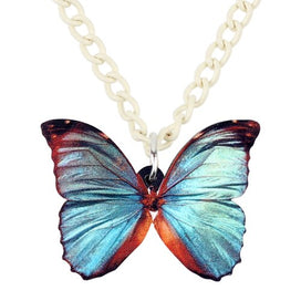 Blue butterfly necklace - Acrylic Grey Blue Butterfly Necklace Pendant Chain Collar Hot Trendy Insect Jewelry For Women Girls
