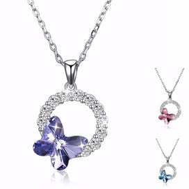 Blue butterfly necklace - WARM COLORS Crystal From Swarovsk Women Necklace Fine Jewelry Inlaid Zircon Round Circles Butterfly