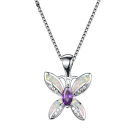 Blue butterfly necklace - Boho Female Big Blue Purple Butterfly Pendants Necklaces White Fire Opal Necklaces For Women 925