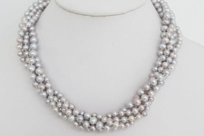 Multi strand pearl necklace - Beautiful Twisted Multi-Strand Grey Lilac Freshwater Pearl Necklace