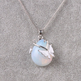 Opal butterfly necklace - Butterfly & Opal Pendant Necklaces For Women Link Chain Jewelry