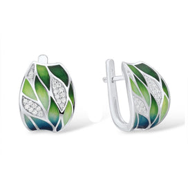 Clip on earrings for women - Silver Earrings For Women Genuine 925 Sterling Silver Green Bamboo Leaves Shiny White CZ Fine