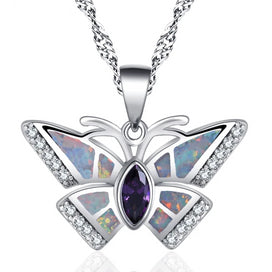 Opal butterfly necklace - Butterfly Design White Fire Opal Silver Stamped For Girl Fashion Jewelry Necklace Pendant