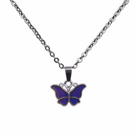 Purple butterfly necklace - Mood Necklaces Butterfly Pendant Necklace Temperature Control Color Change Necklace Stainless