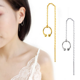 Earrings with chain and cuff - 1 Pcs Gold Ear Cuff Clip Chain Tassel Earring For Women Korean Indian Jewelry