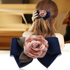 Bow tie clips - Floral Hairpin Spring Clip Hairband Korean Jewelry Bow Tie Adult Women Horsetail Hair Bow Accessories
