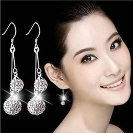 Sterling silver ball earrings - Crystal 925 Sterling Silver Korean Fashion Jewelry Rhinestone Exquisite Ball Beautiful Bright