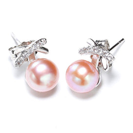 Pink pearl earrings - 6-7MM Pearl Earrings Real 925 Sterling Silver Butterfly Pearl Earrings For Women
