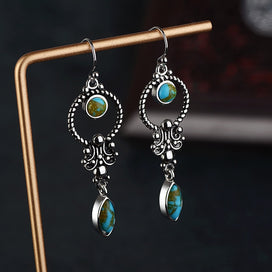 Chandelier earrings wedding - 1 Pair Vintage Silver Blue Stone Dangle Earring For Women Round Drop Earring Hanging Wedding
