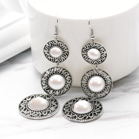 Dangle pearl earrings - 1 Pair Fashion Elegant Ethnic Style 3 Circle Simulated Pearl Long Tassel Dangle Hook Earrings