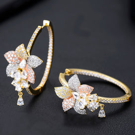 Cubic zirconia hoop earrings - 3 Tone Flower Tassel Drop Cubic Zircon Statement Big Hoop Earrings For Women Wedding DUBAI