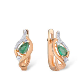 14k gold diamond stud earrings - Gold Earrings For Women 14K 585 Rose Gold Glamorous Elegant Shiny Emerald Sparkling Diamond