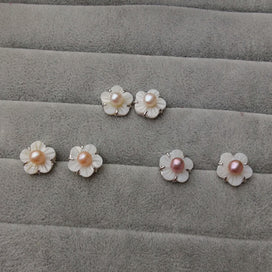 Stud earrings for women - White Shell Flower Flat Natural Freshwater Pearl Earrings Fashion Jewelry