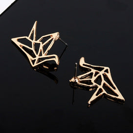 Stud earrings for women - Flat Hollow Origami Bird Silver Golden Metallic Stud Earrings For Women