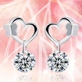 Stud earrings for women - 1 Pair Cute Lady Butterfly Hook Crystal Silver Plated Woman Earrings