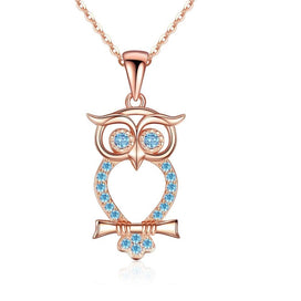 Sterling silver owl necklace - Animal Owl Choker Necklaces For Women 925 Sterling Silver Gold Color Blue CZ Statement Long