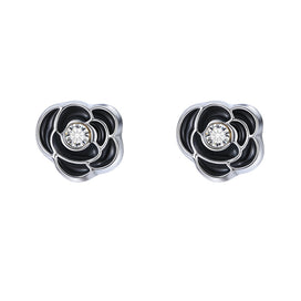 Stud earrings for women - 1 Pair Glitter Crystal Flower Star Magnetic Stud Earrings Unisex Kids Jewelry Black Tower Ear Studs