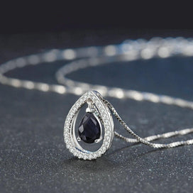 Blue sapphire necklace - 925 Sterling Silver Necklace For Women Sapphire Gemstone Pendant Necklace Teardrop 18K White Gold