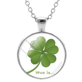 4 leaf clover necklace - Beautiful Four Leaf Clover Pendants Necklace Handmade Glass Cabochon Jewelry For Women Accessories