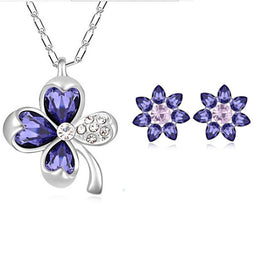 Women Accessories Silver Plated Austrian Crystal Four Leaf Leaves Clover Necklace Pendant Flower Earring Jewelry Sets