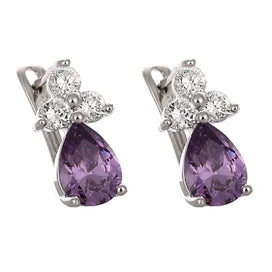 Cubic zirconia stud earrings - 3 Colors Crystal Jewelry Stud Earrings For Women Purple/Red/White Elegent Crystal Earrings For