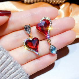 1 ct diamond earrings - Boho Korean Female Small Heart Earrings Purple Red Color Stud Earrings For Women Double Crystal