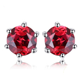 Sterling silver stud earrings - 1.3ct Genuine Red Garnet Stud Earrings 925 Sterling Silver Earrings For Women Korean Earrings