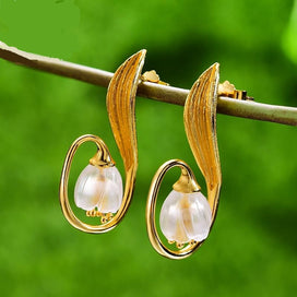 Sterling silver drop earrings - 925 Sterling Silver Handmade Fine Jewelry Natural Crystal Gold Lily Of The Valley Flower Drop