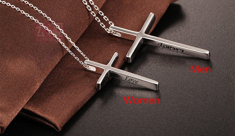 Cross necklace for women - 100% 925 Sterling Silver Couples Necklaces Women Stamp Engraved With Love And Forever Simple Cross