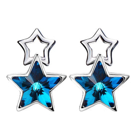 Sterling silver drop earrings - 925 Sterling Silver Earrings Embellished With Crystals Star Women Earrings Sterling Sliver