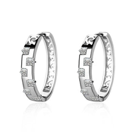 Cubic zirconia hoop earrings - Charm Small Silver Hollow Circle Round Gem Stone Zircon Hoop Earrings For Women Jewelry