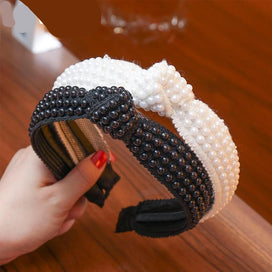 Headbands for girls - Wide Headband For Women Full Simulation Pearls Bead Hairband Hoop Knotted Hair Bands Stylish Female