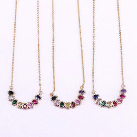 Rainbow crystal necklace - 10Pcs Waterdrop Rainbow Multi Color Cubic Zirconia CZ Crystal Beautiful Pendant Necklace For Women
