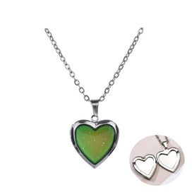 Heart locket necklace - Can Open Photo Frames Heart Pendant Mood Necklaces Emotion Color Change Locket Long Chain Necklace
