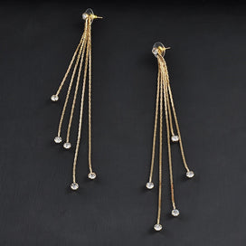 Chain drop earrings - 5 Chains Gold Silver Long Tassel Earrings For Women Crystal Statement Earrings Charm Jewelry