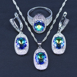 Rainbow crystal necklace - 925 Sterling Silver Rainbow Bridal Jewelry White Cubic Zirconia Jewelry Sets For Women Wedding
