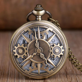 Pocket watch necklace - Antique Bronze Gear Hollow Quartz Pocket Watch Vintage Pendant Necklace Clock Women Gifts Fob Watch